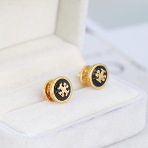 Tory Burch Black And White Simple Fashion Earrings